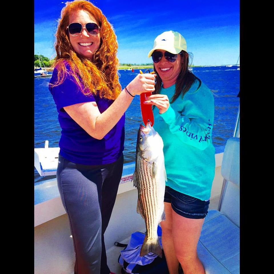 Casey bagged a keeper for Meg to cook aboard Manolin Charters in Newburyport!icheM