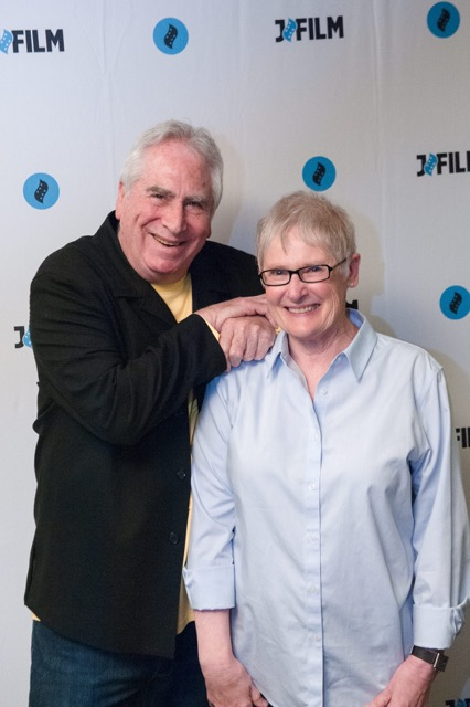 Artist Jerry Barrish with partner Nancy Russell looking happy following the screening