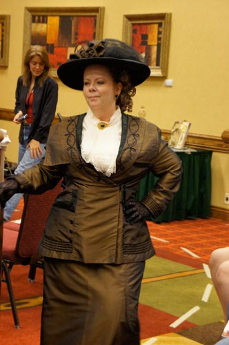 Melissa brought down the house when she sashayed in wearing this Titanic-era costume.