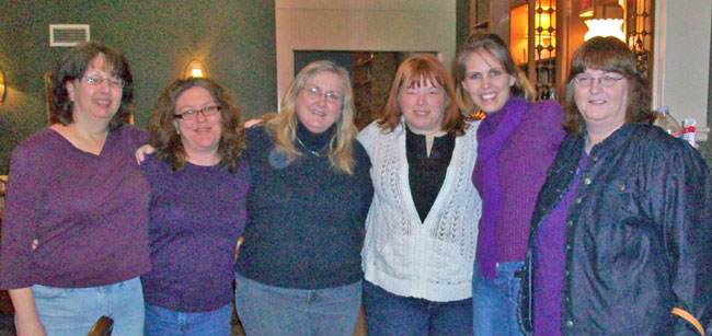 This was our first night as everyone was arriving. From left to right: Meg Moseley, Allison Pittman, Kathleen Y'Barbo, Tracie Peterson, Cara Putman & Vickie McDonough