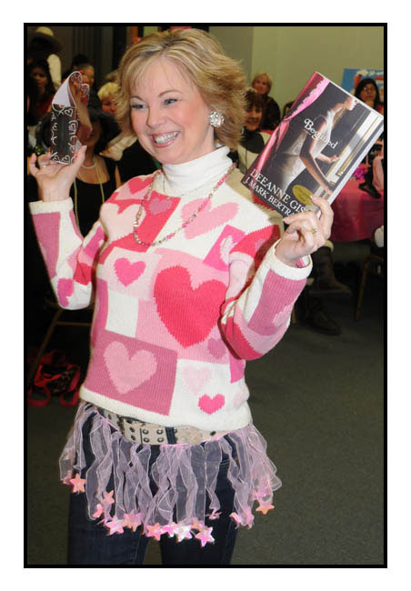 I went as Valentine Barbie. All the authors had to walk the catwalk in their costumes while telling a secret about themselves. I confessed that I used to make-up romances between my Barbie and Ken dolls. They were long draw out sagas where they met, they courted and they wed! :)