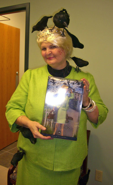 This is Kathy Patrick dressed as The Birds' Barbie. Is that just the greatest! She's the patriarch of the Pulpwood Queen Bookclubs (who was hosting the entire event).