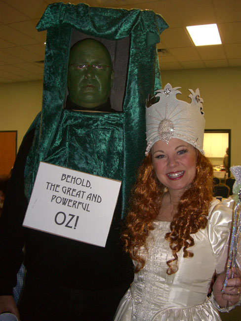 """Author Ad Hudler (Man of the House) dressed as Oz--the one that answered the door and said """"Go away and come back tomorrow!"""" His daughter helped him make the """"door."""" Isn't that so clever!"""