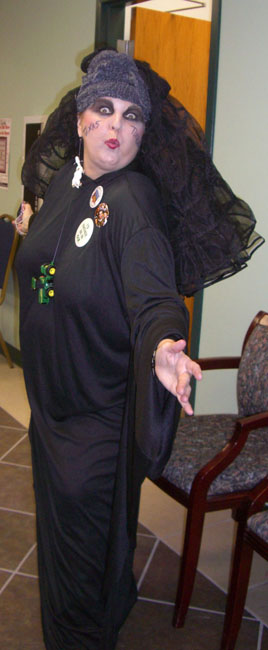 Kathy Patrick--the woman of the hour--dressed as a tornado, of all things! She is such a cut-up. I just love her!