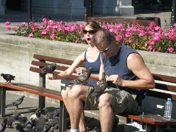 Last stop was to feed the birds. Our 17 yr old didn't expect them to be quite so friendly. ;-)