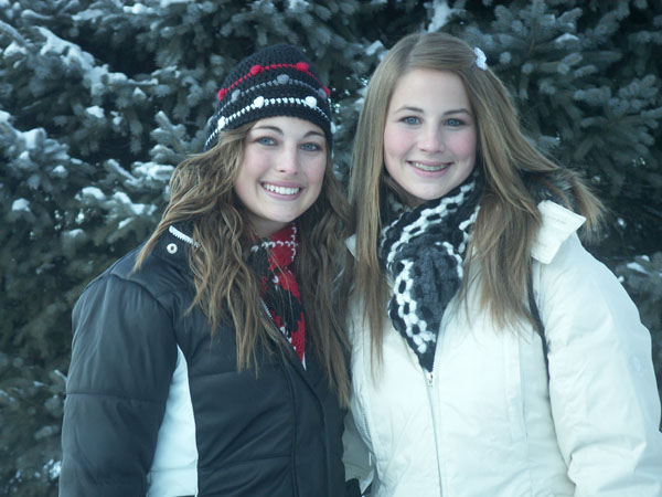 Our girls wore different hats and scarfs everyday of the week. No wonder their suitcases were twice the size of the boys! (19 year old on the left, 17 year old on the right)