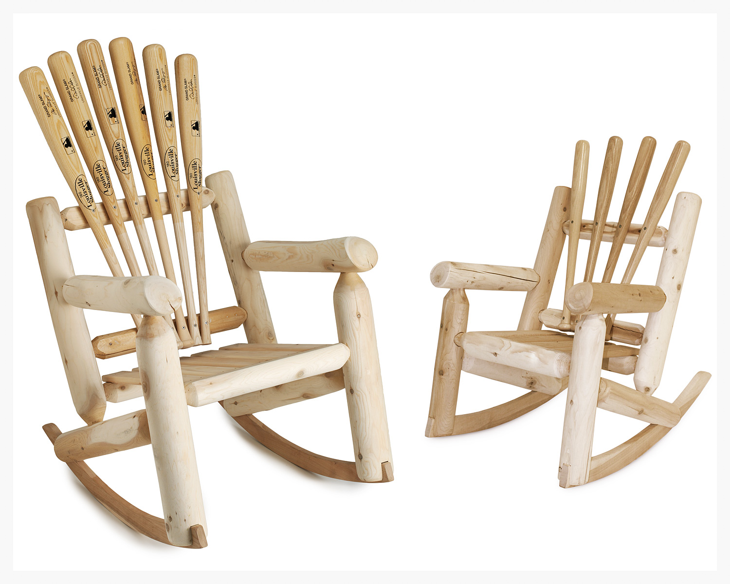 Baseball bat rocking chair! Now this is cute, but it looks mighty uncomfortable. Wouldn't do any good if he couldn't actually relax in it!
