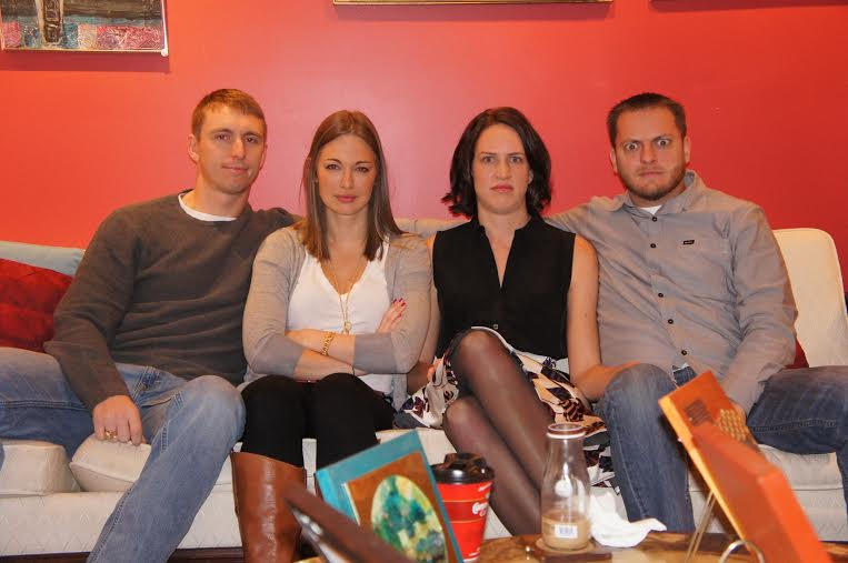 """""""Game Faces"""" Left to Right: My son-in-law, 27 yo daughter, niece-in-law (is that a word?), and nephew."""