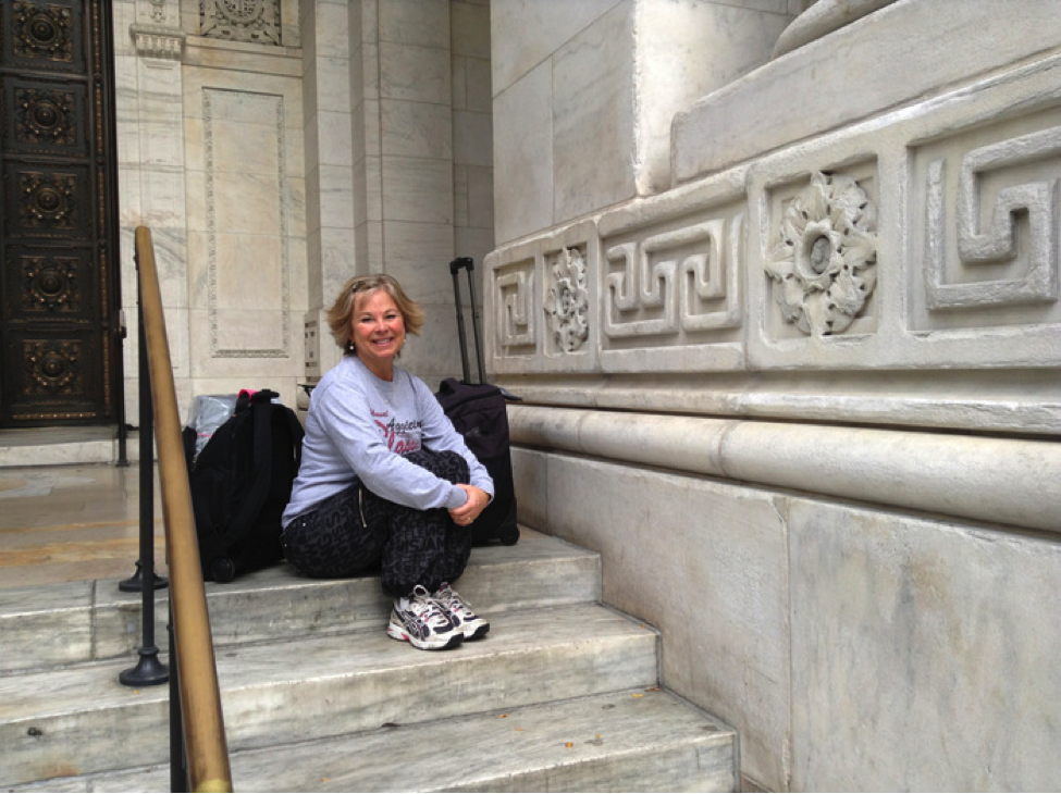 Just arrived, on the steps of the New York City Library