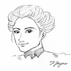 "A rendering of Clara Driscoll by artist  Monica Bruenjes  (taking on the role of my heroine Flossie Jayne--who ""signed"" the piece.)"