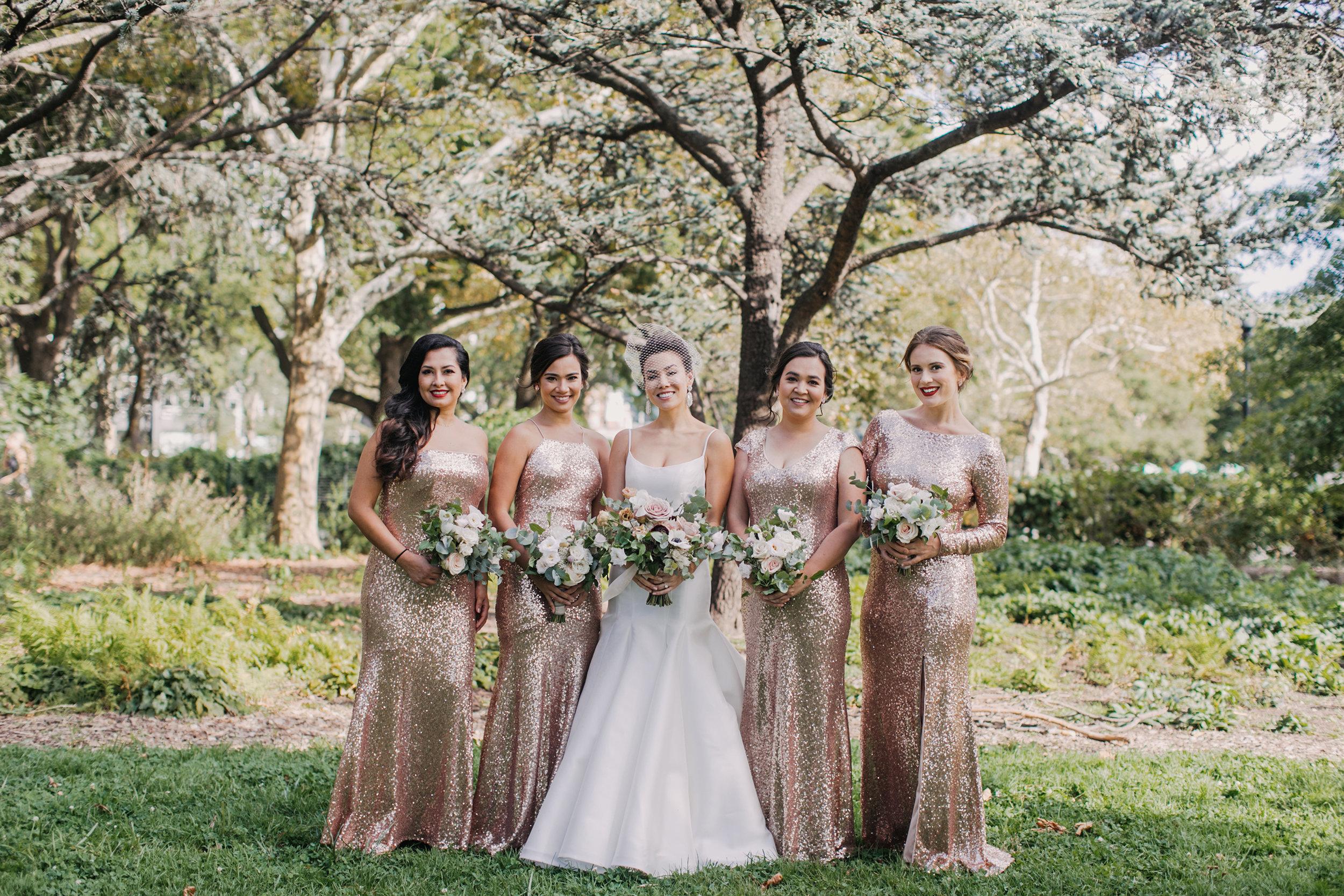 From left: Bridesmaid  Muranda , Maid of Honor (younger sister)  Andrea , Matron of Honor (older sister) Meileen, Bridesmaid  Alexa