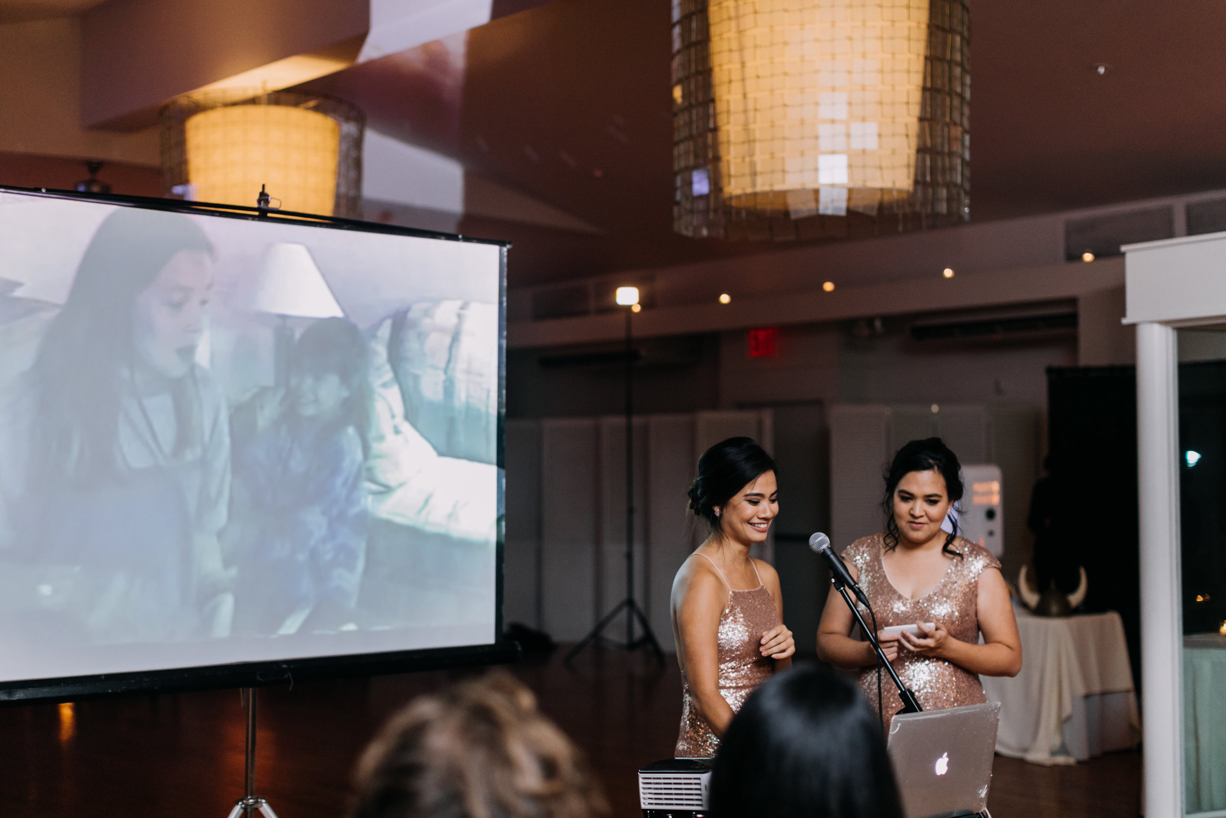 My sisters giving their speech, which included clips from home videos and singing a camp song we used to harmonize on car trips together when we were kids (with the lyrics rewritten)!