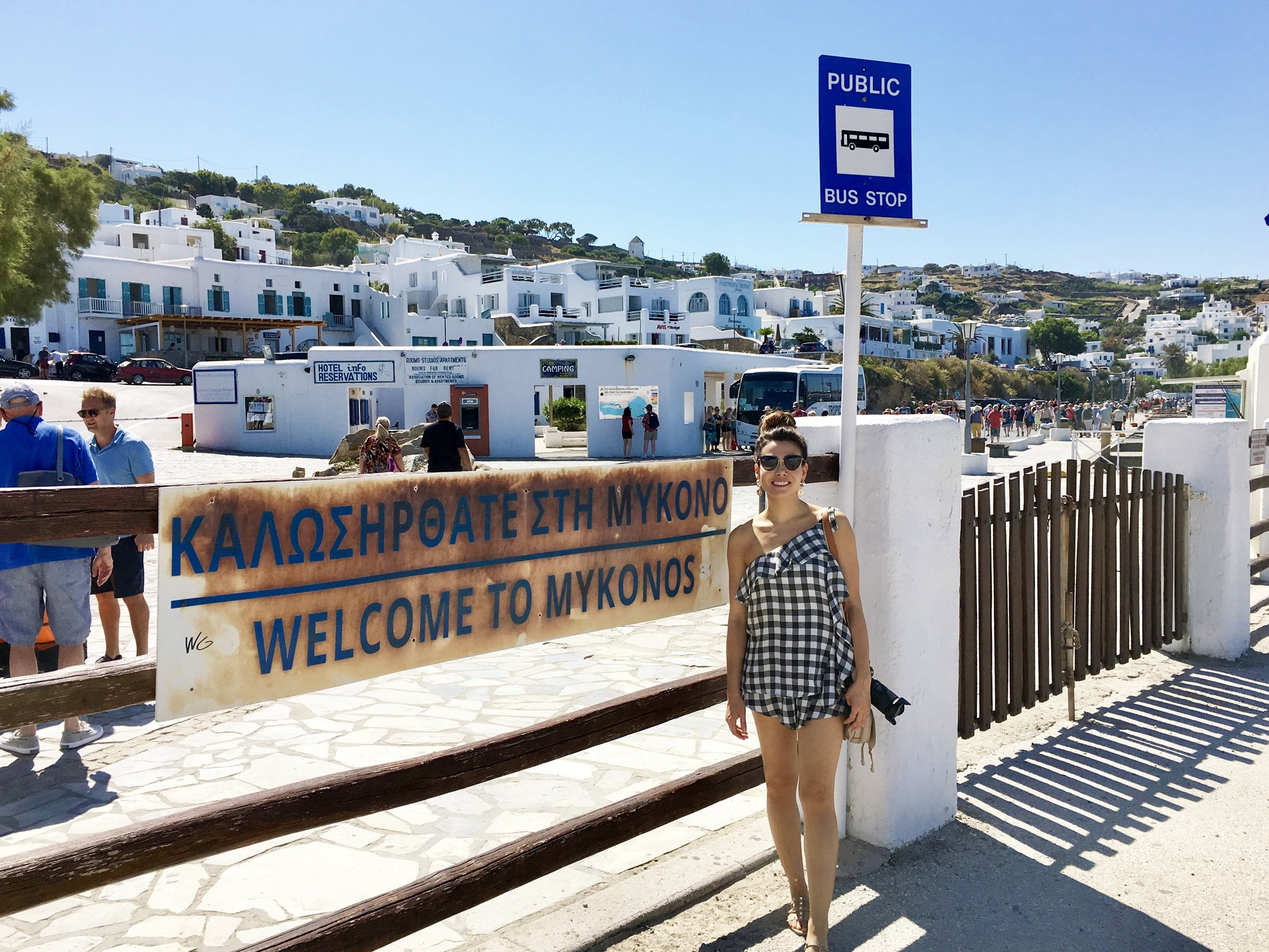 First steps in Mykonos, ready for the day
