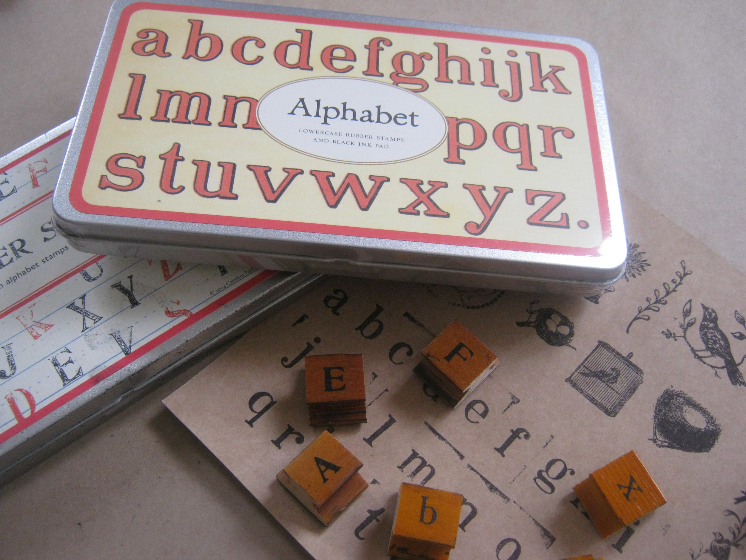 vintage look stamp sets...     alphabet    upper case or lower case