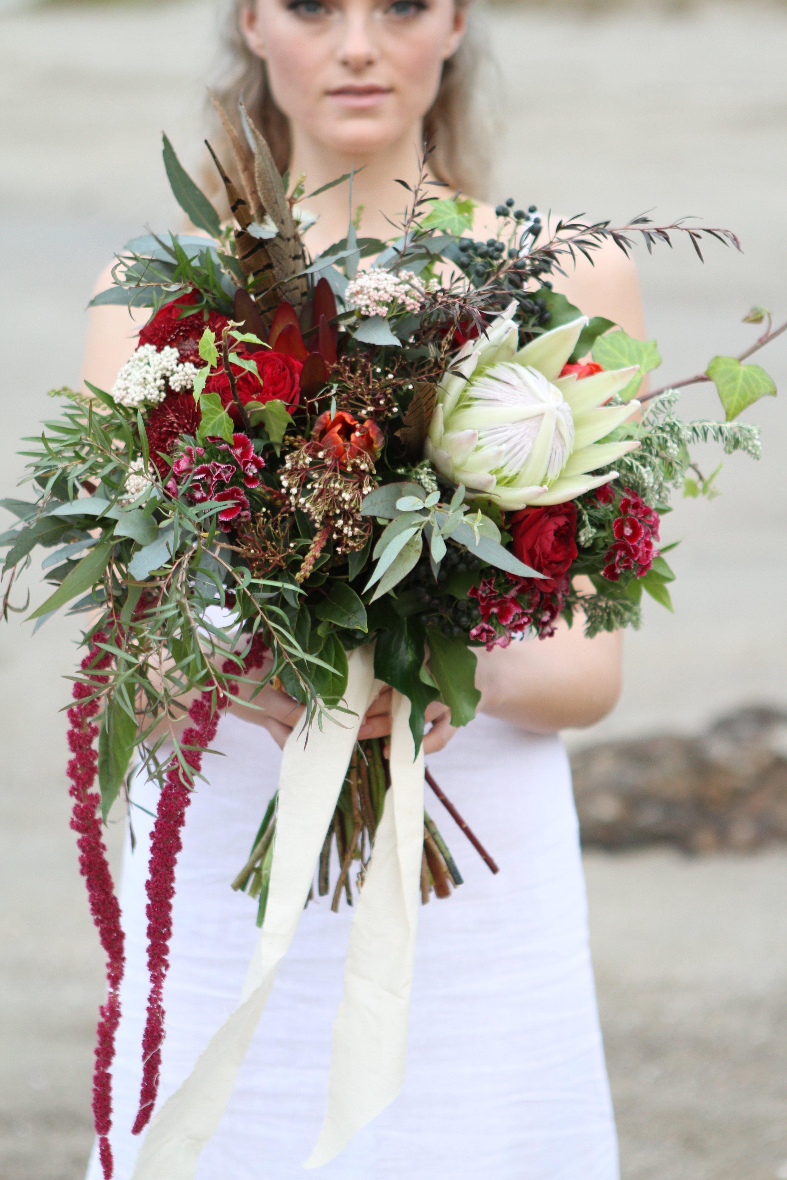 Zoe Southwood modelling Renee's bouquet