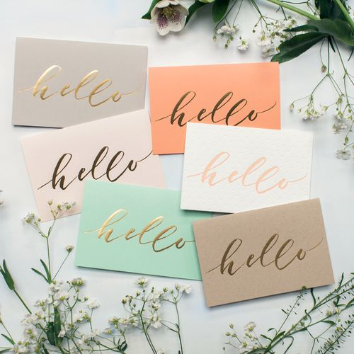 Adorable pastel note cards with metallic gold typography   Ashley Buzzy Design  .