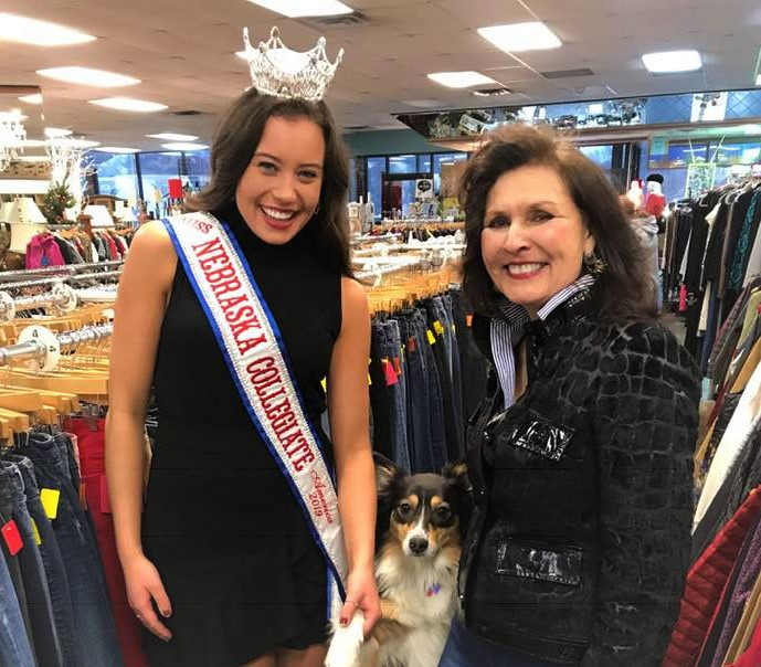 Adair Sue Sturgis-Director of Cause for Paws Lincoln and her dog Tempe with Miss Stephanie Lien who is a long time supporter and volunteer at Cause for Paws Lincoln when she is not going to College and representing NE as a 6 time WORLD Batton Twirling Champ, former Miss NE Teen and currently holding 2 titles as College Miss Majorette of America and Miss NE Collegiate