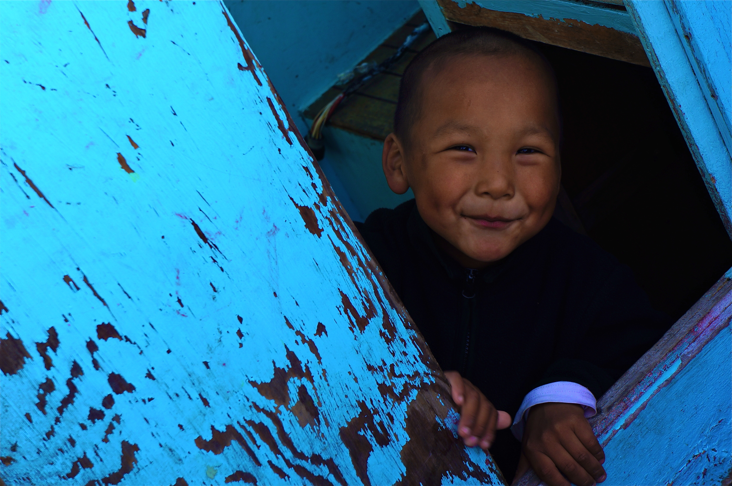 A child in a village in Southeast Greenland