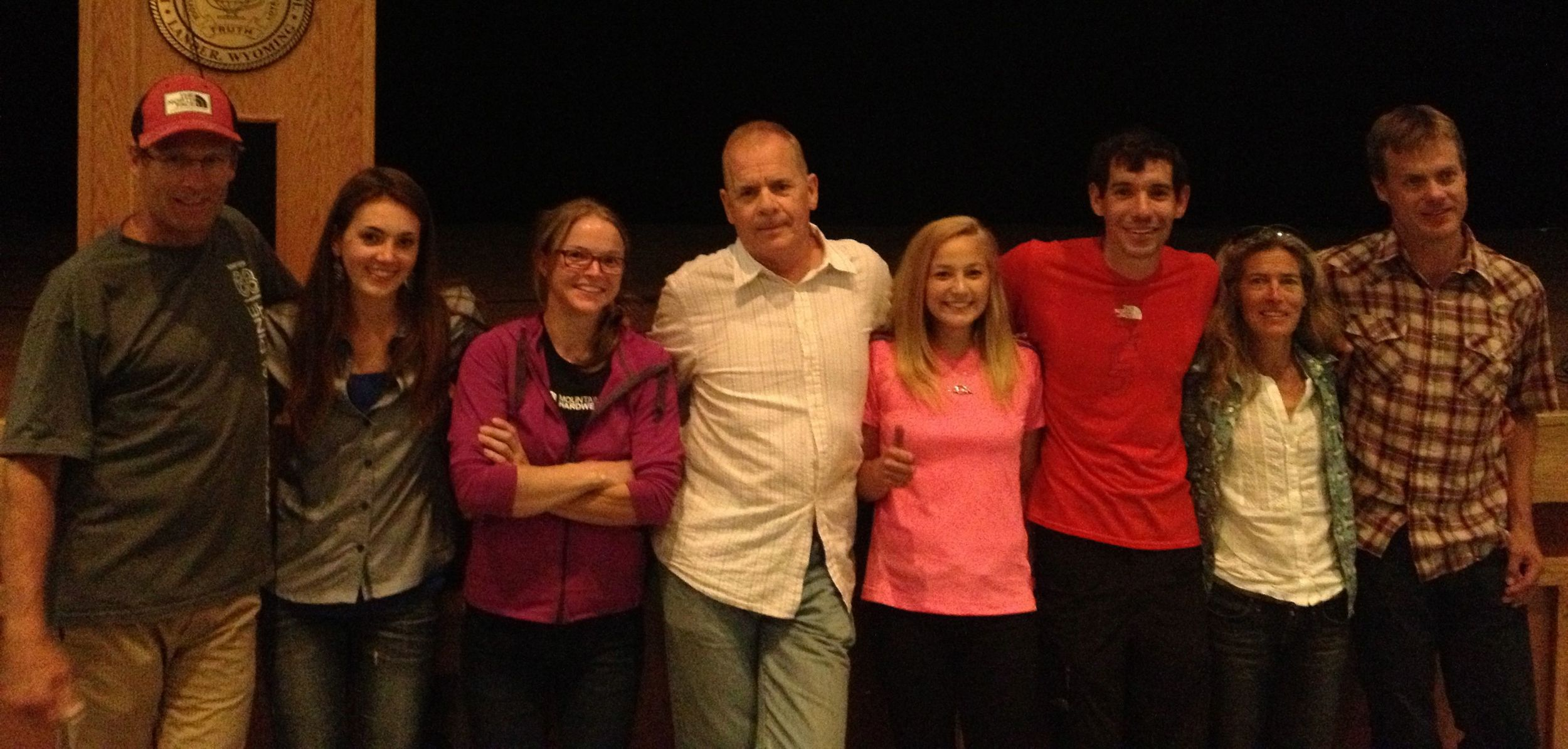 The speakers: Conrad Anker, Paige Claassen, Me, John Long, Sasha DiGiulian, Alex Honnold, Lynn Hill, Brady Robinson