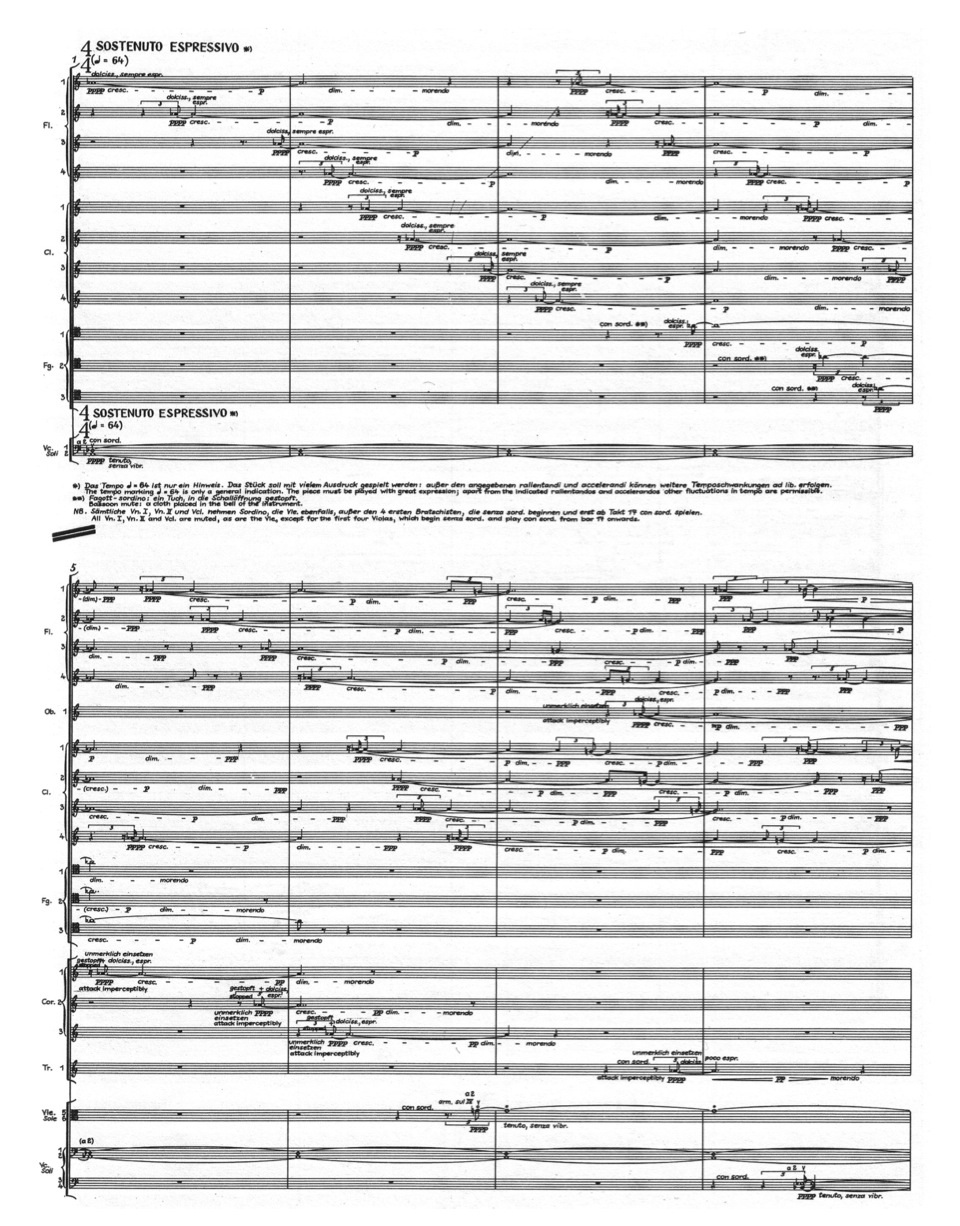 Example 19:   Th  e opening measures of György Ligeti's   L  on  ta  no  . Note the homogenous timbre of   fl  utes, clarinets and bassoons slowly being paired with stopped horns and muted trumpet in m. 5 – 8.
