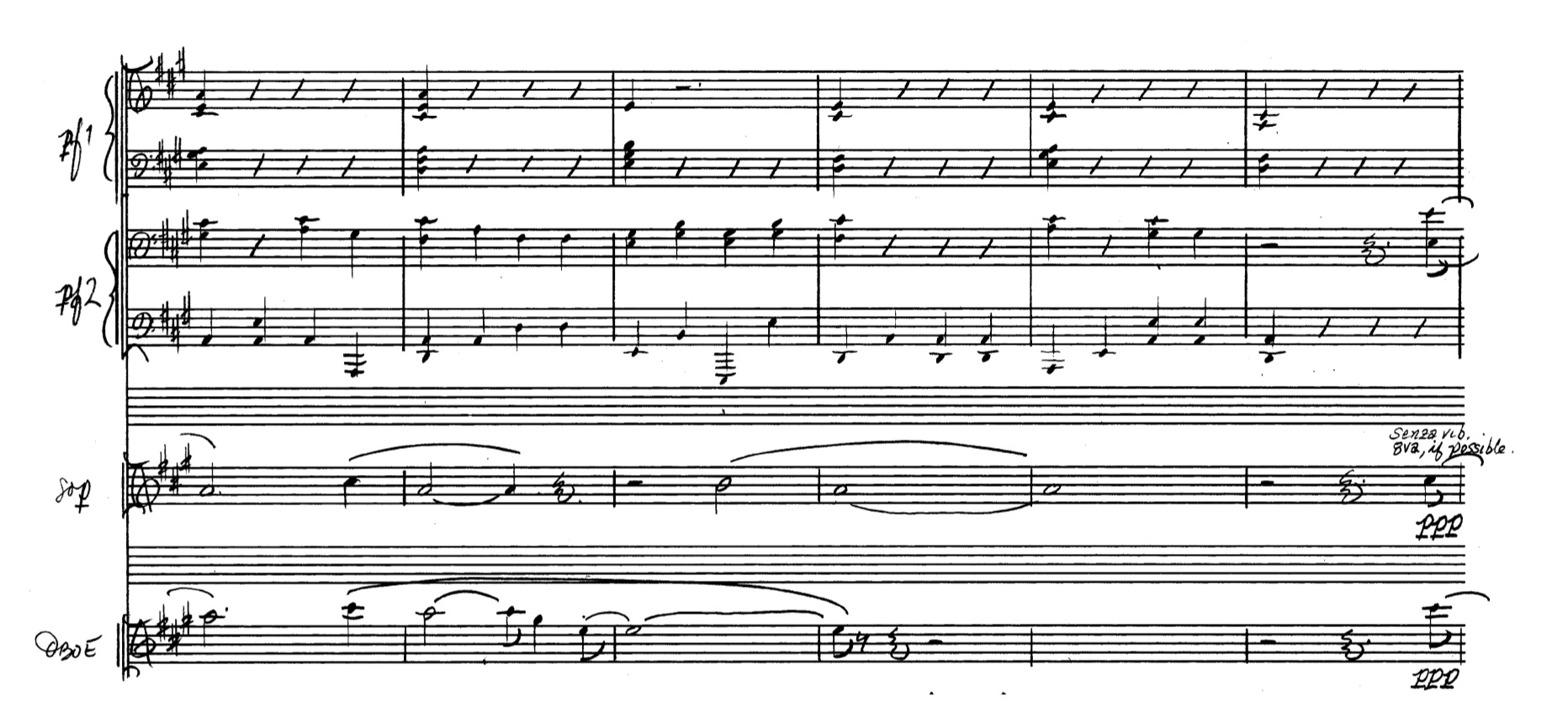 Example 24:   Th  e piano pulse: a slowed down tremolo. Cf. the orchestra- tion here with the opening of the work. mm. 441 – 446, extract.