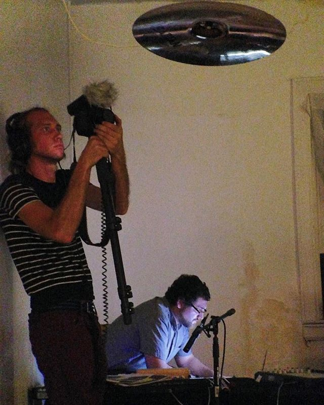 Sam, coding.  Marc, getting the cymbal shot.  Photo by Jon Guilehurst