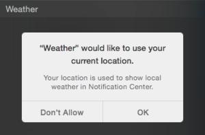 OS X Yosemite Public Beta 3 Location Privacy Weather Prompt