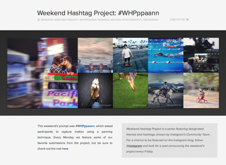 Screen shot taken from blog.instagram.com of their weekly #WHP competitions.