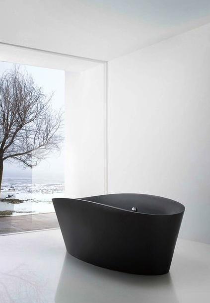 Black bathtub with glass wall view ITCHBAN.com