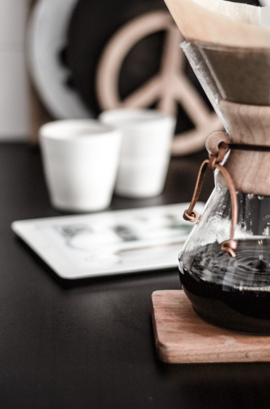 Pour over coffee on work space desk ITCHBAN.com