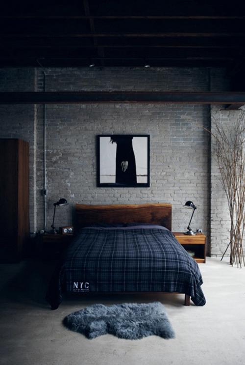 Exposed brick bedroom ITCHBAN.com