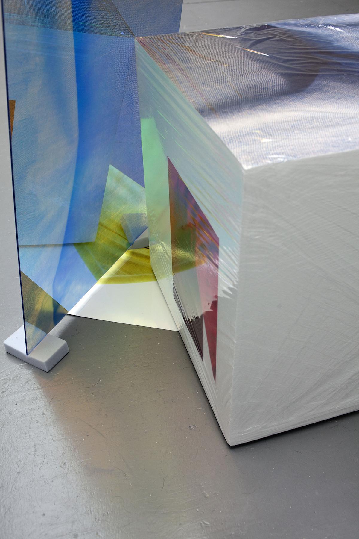 Sweaty Sculpture (denim) ,112 x 100 x 50 cm, flatbed print on plexiglass, photo-stickers on polystyrene, cellophane, sponges