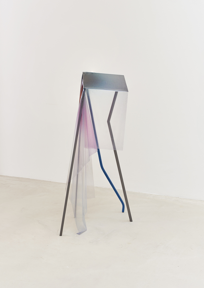 Neutral (mellow) sculpture, 110 x 40 x 40 cm, graphite grey metal construction with pipe-isolation and 125x71cm flatbed print on thin plastic (PVC 0,5 mm)