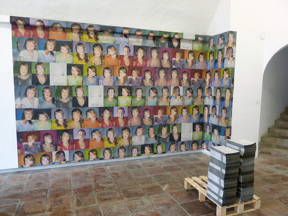 installation and pile of newspapers at Hyeres festival de mode et photography in Hyeres, France, 2011
