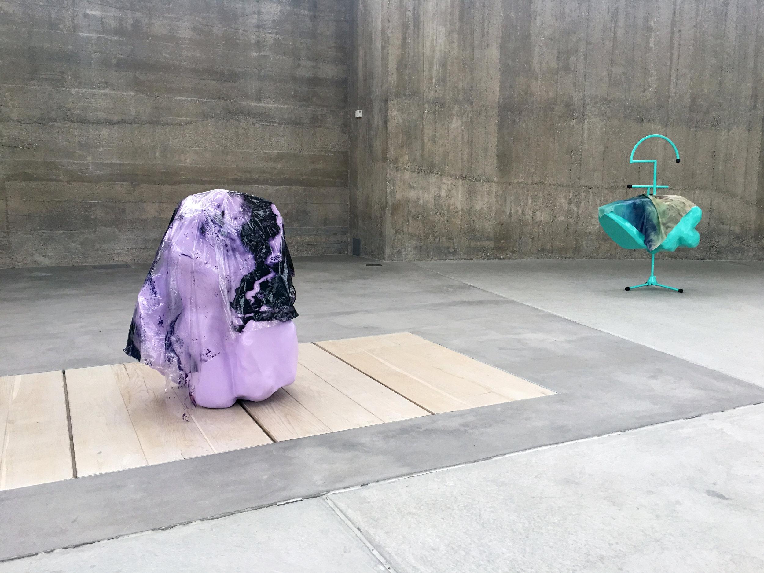 SQUABBLE ,Sculpture, 2017,91 x 70 x 64 cm,Inkjet print on plastic, polystyrene, fiberglass, paint. SNUG-FIT, Sculpture, 2017,140 x 85 x 47 cm,Inkjet print on latex, polystyrene, fiberglass, paint, metal, rubber