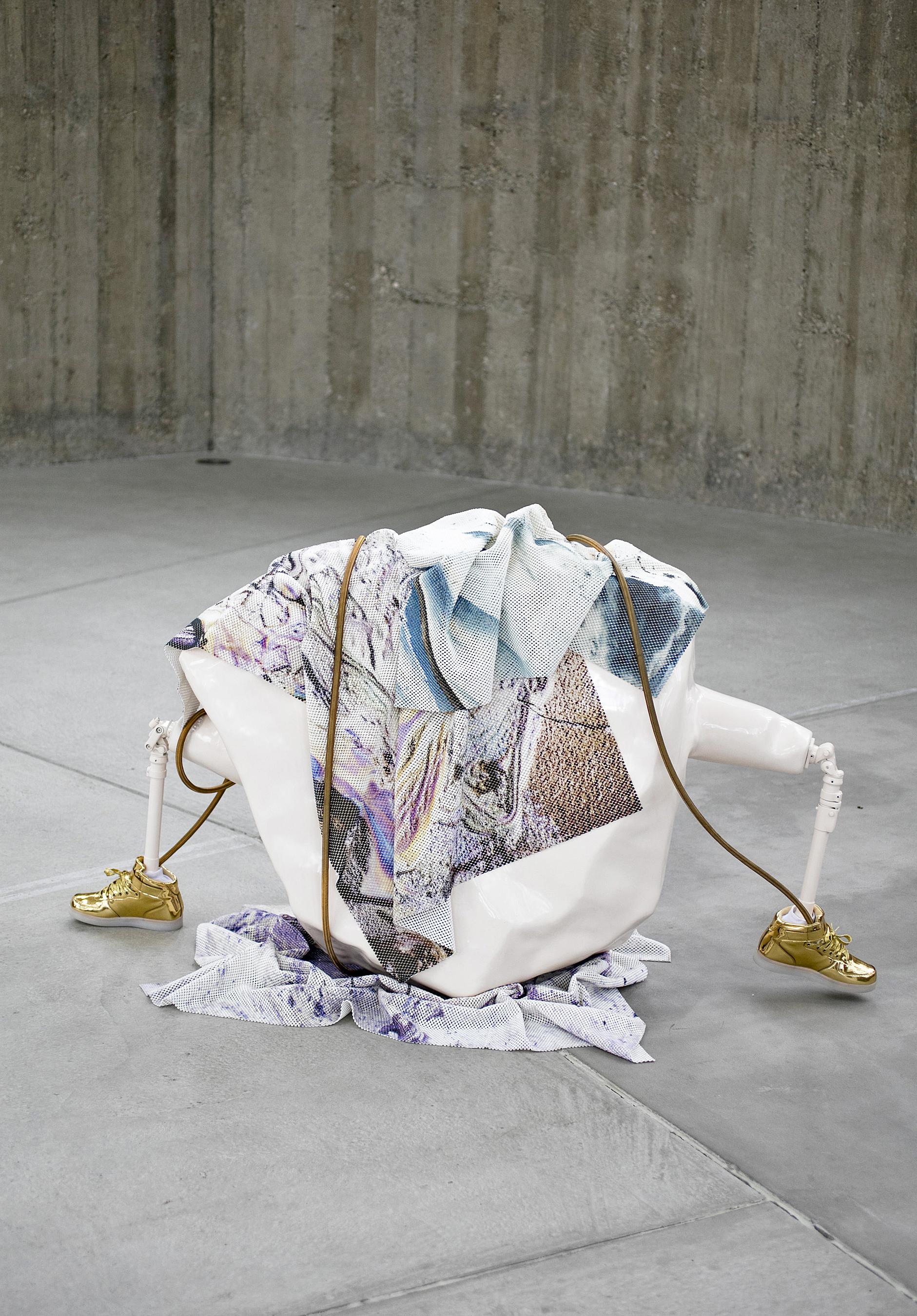 FOLLY, Sculpture, 2017,93 x 160 x 55 cm,Inkjet prints on anti-slip mats (rubber), fiberglass, paint, metal, led-shoes, gas-cable