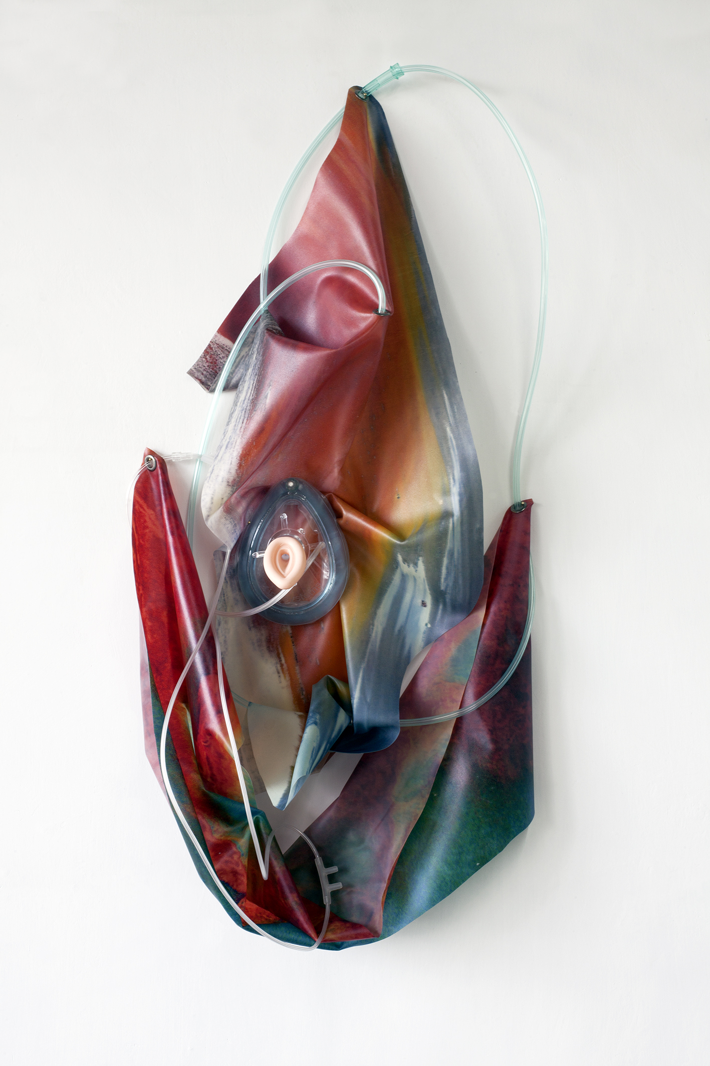 Petrified Sensibilities 16 , 2017. Sculpture; Inkjet prints on latex, anaesthesia mask, laryngeal mask airway, oxygen tubing. 73 x 40 x 11,5 cm. Unique