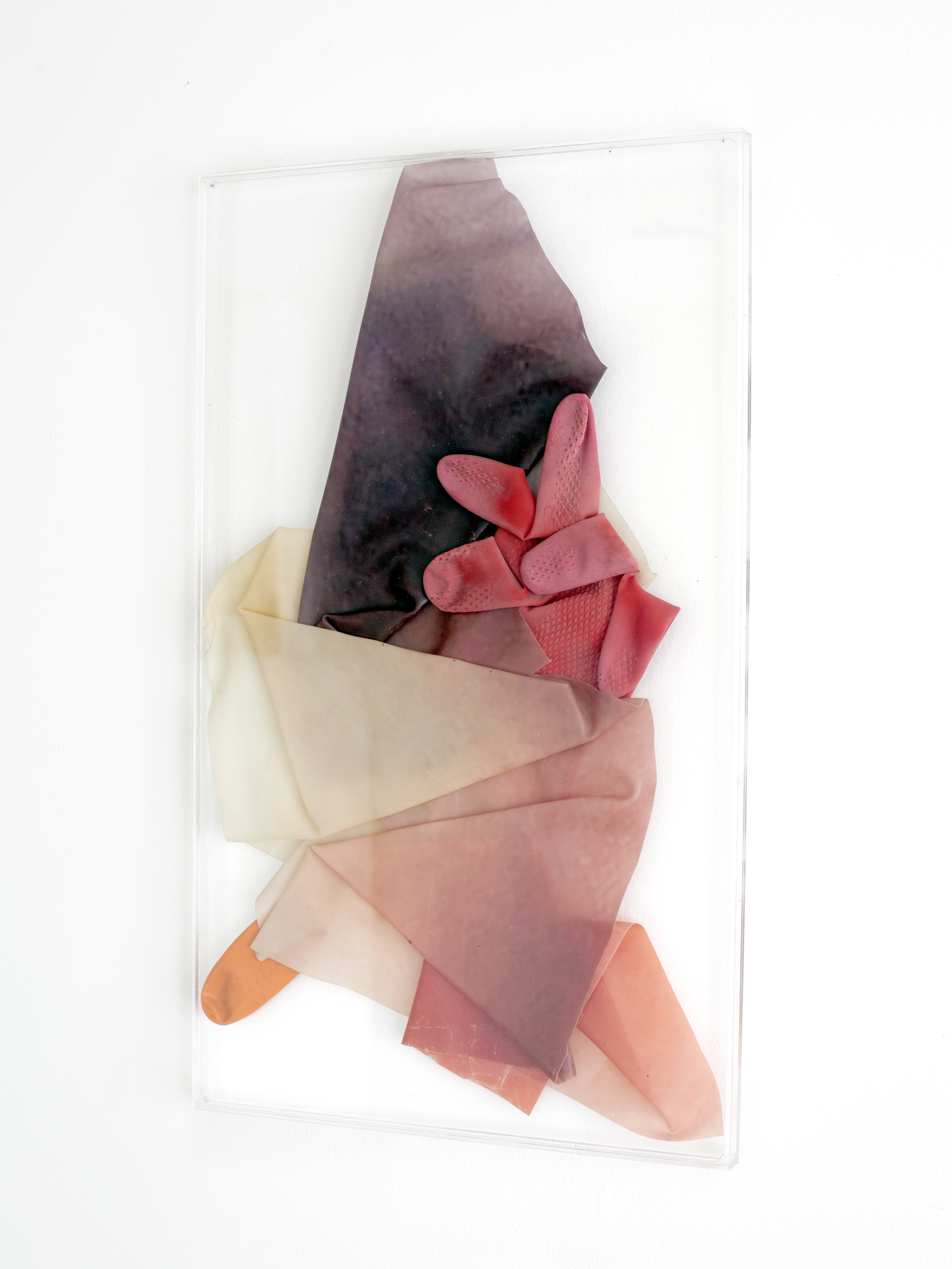 SALAAM,  2018, sculpture (unique), 50 X 30 X 1,6 cm, inkjetprint on latex, transparent acrylic, rubber gloves
