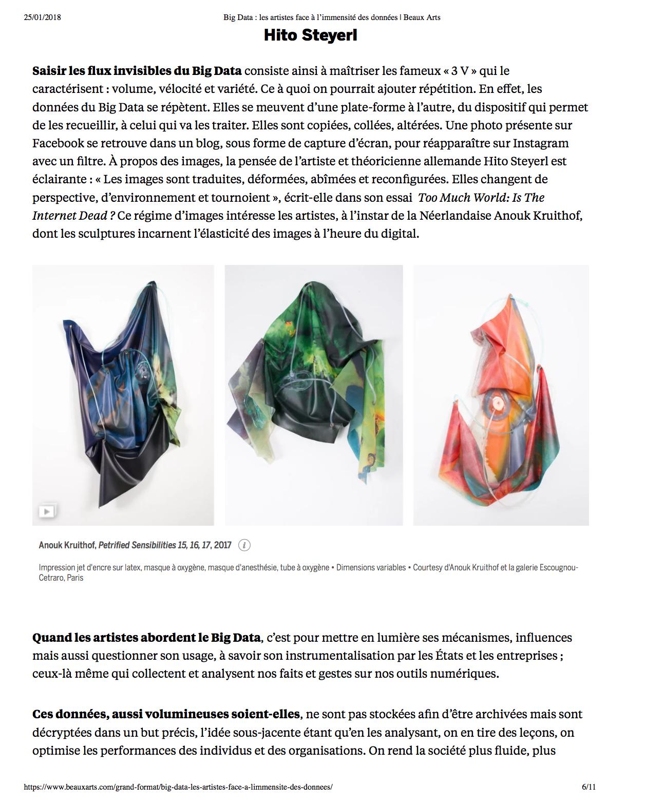 Big Data : les artistes face à l'immensité des données Par Julie Ackermann• le 24 janvier 2018, Beaux-Arts de Paris