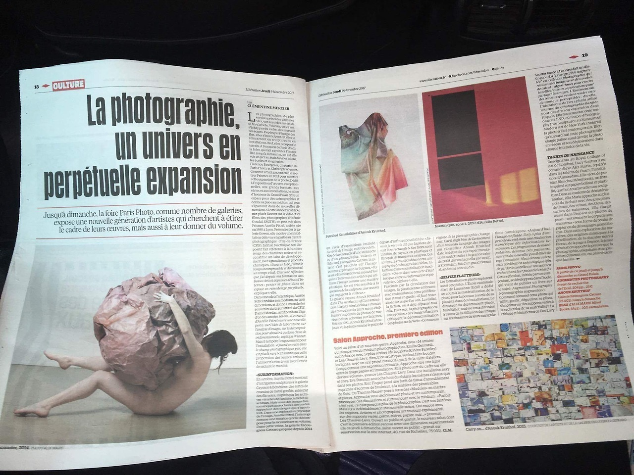 article in the French newspaper LIBERATION about APPROCHE.PARIS  and my solo show :  http://escougnou-cetraro.fr/anouk-kruithof-the-aesthetics-of-contamination/