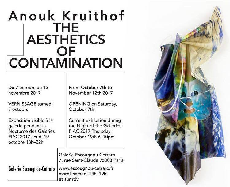 "solo exhibition: THE AESTHETICS OF CONTAMINATION     Gallery Escougnou-Cetraro, Paris      The opening will be on Saturday, October 7 th  (6-9 pm)  The exhibition from October 7th through November 12th, 2017  &  A special evening: Thursday, October 19th (6-10pm)      La Nocturne des Galeries, FIAC 2017        ~~~~~~  Essay by Ingrid Luquet-Gad    What do we see when we're looking at an oil slick darkening the surface of the ocean? The answer is simple: we see nothing. Nothing, or at least, nothing we can match to the usual perception scheme, where the image duplicates a real object. Nothing, because more fundamentally, nothing in our constitution prepares us to grasp a phenomenon such as this one, so deeply conditional of human activity. Synthetic and unforeseen, it disrupts more than the natural equilibrium: it also disrupts the definition previously in effect of what an object is. This oil slick, although we can't have direct physical contact with it or discern it in its entirety, no one questions its existence. Therefore, it is indeed the object, the existing thing, that is not human, nor animal, nor natural, that takes a hit: an object doesn't necessarily relate to a human scale. We can't access it with our senses, because its scale exceeds our comprehension. De facto, many philosophers used that same black and viscous example to substantiate their attacks against the anthropocentrism fortress (1). In Graham Harman, Bruno Latour or Timothy Morton's writings, the oil slick belongs to the family of the unclassifiable, named – for lack of a better term – hyperobjects or quasi-objects. Hyper-, quasi-: it's in the prefix that the modern classification system gets its first hit. Yet although we see nothing of the thing itself, we do see something else: we see an image. This visual stimulus we instantly identify as a reality called ""oil slick"", we have already seen in the media, through several aerial photographs duly captioned. We thus have learnt to correlate the quasi-abstract black patch to a few key words such as ""oil spill"" or ""chemical pollution"": a correlation that makes us believe in our knowledge, an identification that reassures by withdrawing all unthinkable aspects of the sudden appearance.  Anouk Kruithof's exhibition  Aesthetics of Contamination  nestles precisely in this mental interstice, inhabiting the grey area that distinguishes intuition from destruction and slumber from reason. What strikes at first is the presence of a whole range of medical and paramedical tools arraying all sorts of prostheses: an oxygen mask, an anaesthesia mask, a crutch, a walking stick, jellified face masks or breast enhancement pads made from the same material. Here, these machine extensions come to enhance, heal and repair body-like sculptures, rocky structures wrapped as if in a cocoon made from a protective layer of silky and colourful synthetic material. On latex or plastic, the artist printed aerial views of natural disasters she collected from the Internet. Now turned into soft surfaces that fold and bend that languidly drape the steel structures holding them, these images-now-become-material arouse ambiguous emotions in which attraction and repulsion mingle and become indistinguishable, one contaminating the other in a disturbing recursive loop. The shortcut one could establish is therefore obvious, although nonetheless striking: in Anouk Kruithof's work, the image is a prosthesis-like image. It is quasi-, hyper-, in any case a not-quite-image, trying to make physically present what is yet to be experienced: this new flesh in which the usual partitions between nature and culture, human and machine, real and fictive, come undone.  The prosthesis-like images demonstrate not only a modification of the real, but also of the nature of the images we know as belonging to the real. Besides, it would be more accurate to speak of prosthesis-like photographs, as Anouk Kruithof's work explores the contemporary photography field, specifically in its loosest meaning, as a not produced but reproduced image. Precisely, the machine-like quality points the finger at the major split between photography as a duplication of the real and photography as becoming the real itself. If the photograph of a disaster is our only proof that the disaster did happen and therefore exists, the photograph becomes the substitute for a reality we endure without ever experiencing it. As accurately pointed out by François Laruelle, one of the few who linked contemporary photography to metaphysics (2), we are now facing the existence of a ""photo-fiction"" which turns the traditional conception of photography – for the author, Platonic photography – into a lie. The image and the world, the subject-like-world and the technological device merge together and create a new reality – a reality that is not less real, but just different, alternative. Facing this post-produced ecosystem where the representation of a thing is not what hides it – as the post-moderns wanted to believe – but is the thing itself, Anouk Kruithof's works act as emotional laboratories. At the same time images and materials, their physicality is of this particular ambiguous quality that suspends all attempts at rational understanding: are they too teasing, and therefore toxic?  1. Voir notamment Bruno Latour,  Nous n'avons jamais été modernes. Essai d'anthropologie symétrique,  Paris : La Découverte, p. 100 : « La prolifération des quasi-objets a fait craquer la temporalité moderne en même temps que sa Constitution. La fuite en avant des modernes s'est arrêtée (…) avec la multiplication d'exceptions dont personne ne pouvait reconnaître la place dans le flux régulier du temps ».  2. François Laruelle,  Non-Photographie / Photo-Fiktion , Berlin : 2014, Merve Verlag, p. 168-169"