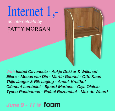 Patty Morgan is pleased to announce the Patty Morgan Internet Café is back as part of the  Foam Fusion Festival, from the 9 th  till the 11 th  of June . In twelve cubicles works from artists represented by the Amsterdam based online platform are on view, in a setting that looks, feels, and smells like a real internet café,    Before wifi and smartphones and tablets, the internet café was the gateway to a virtual world of new opportunities. It was in those strange, murky places where physical space and the boundless online universe first met.  Now, Patty Morgan uses the internet café as an artistic space to form a similar gateway and introduce audiences to the still problematic relationship between art and the internet (or online presence of art). It is the main means through which we communicate in our daily lives, yet both the artist and the consumer struggle with the application, reading and understanding of art within the new language of the medium.   Patty Morgan ask a variety of artists for their views on how we could interact with artworks on the internet, or works that address the opportunities offered by the medium. At the same time, the installation is a subtle acknowledging of the changing hierarchy of the art world, and how internet has become a place where artists can independently exist, exhibit and reach an audience outside of traditional institutions.  The artists featured in the Patty Morgan Internet Café are:  Raphaël Rozendaal  Otto Kaan  Max de Waard  Aukje Dekker & Willehad Eilers  Anouk Kruithof  Olya Oleinic  Clément Lambelet  Martin Gabriel  Meeus van Dis  Isabel Cavanecia  Tycho Posthumus  Thijs Jaeger & Rik Laging  To celebrate their 15th anniversary, Foam is organising a range of activities in 2017 under the theme collaboration, one of the highlights being the Foam Fusion Festival. The Patty Morgan Internet Café at Foam Fusion Festival is opened on Friday 9 (17.00-21.00), Saturday 10    (10.00-19.00) and Sunday 11 June (10.00-19.00). Hope to see you there!   Website    Facebookevent