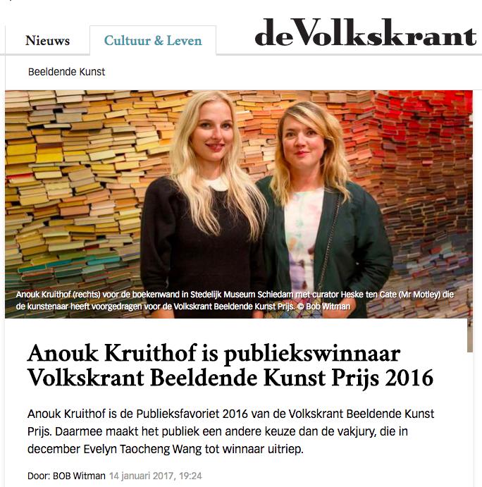 Anouk Kruithof is publiekswinnaar Volkskrant Beeldende Kunst Prijs 2016
