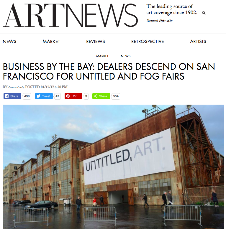 "ARTNEWS  ""MARKET NEWSBUSINESS BY THE BAY: DEALERS DESCEND ON SAN FRANCISCO FOR UNTITLED AND FOG FAIRS""   BY  Leora Lutz   ""Highlights at Untitled included  Anouk Kruithof , at Casemore-Kirkby, exhibiting photo-printed swaths of latex that were draped in eerie and seductive ways (she also presented a solo exhibition of her work at the gallery's Minnesota Street Project location the same weekend); at Bogotá, Colombia's  Instituto de Visión , simple yet poetic solo booth of paintings by Otto Berchem; and the presence of excellent Oakland galleries, like  City Limits , an artist-run space showing mixed-media paintings by Facundo Aragañaz, and  interface  gallery, which featured subtle objects by Lauren McKeon, like Encrypted Phantom (2016), a beeswax candle with drone dust, as well as large-scale photo collages by Nando Alvarez-Perez mounted on industrial metal frames."""