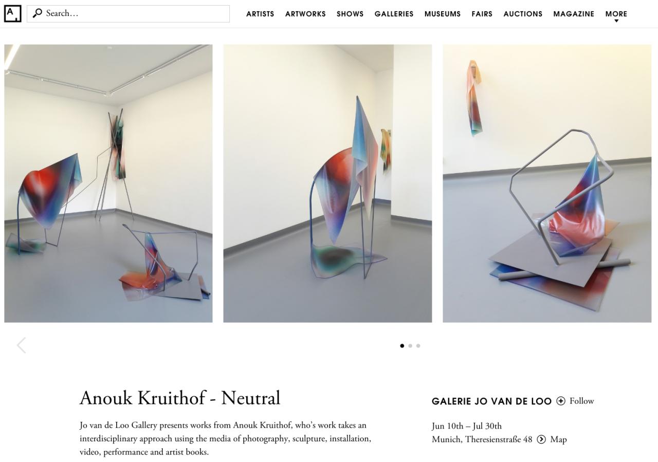 Kunst Wochen Ende in Munchen!    solo show NEUTRAL at gallery Jo van de Loo on ARTSY