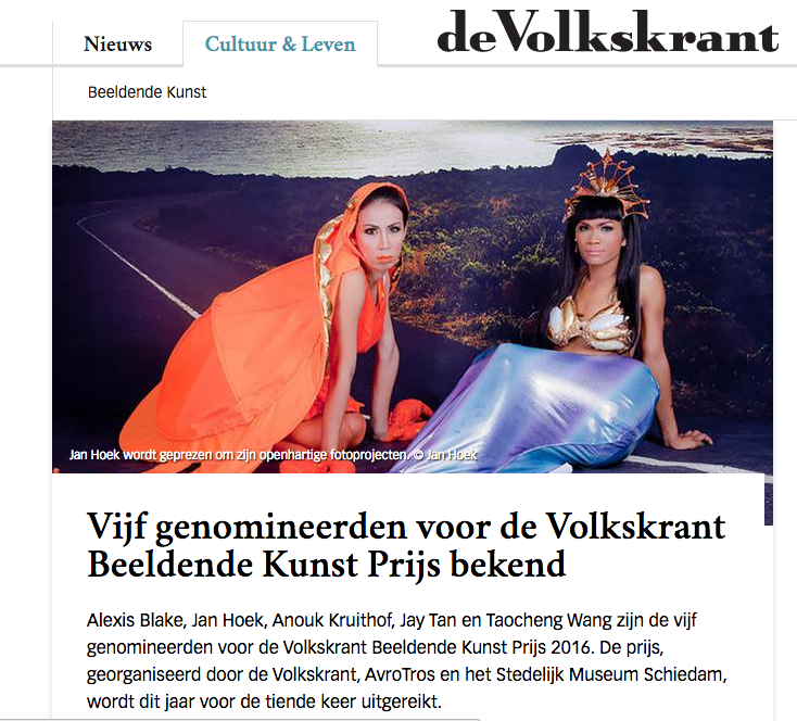 Alexis Blake, Jan Hoek, Anouk Kruithof, Jay Tan en Taocheng Wang are nominated for the  Volkskrant Beeldende Kunst Prijs 2016