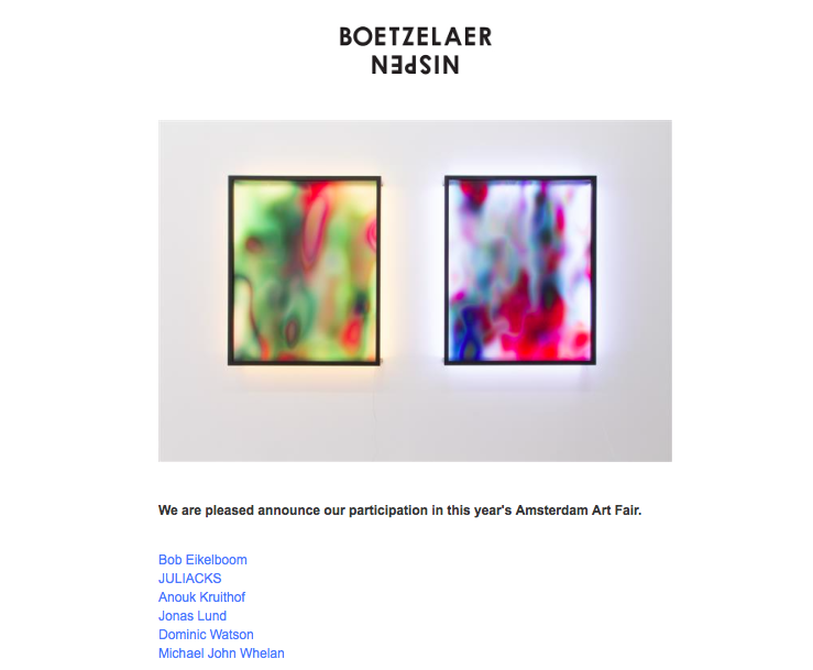 a new work: Concealed Matter(s) #01 will be presented at Amsterdam Art Fair  with  BoetzelaerINispen  in this group presentation of the gallery.