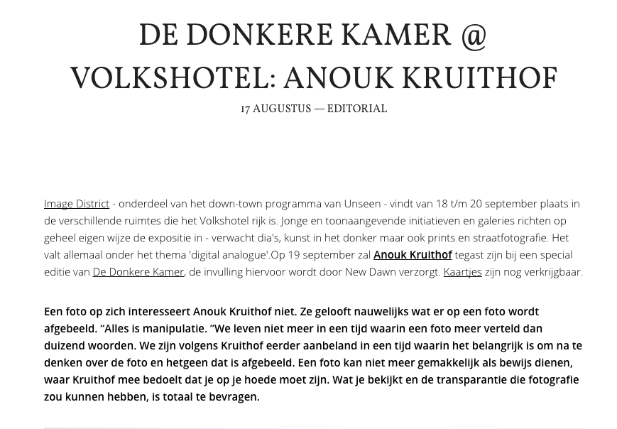 On saturday 19th of september from 8-10 I particpate in the event DDK at Volkshotel in Amsterdam. My talk about my new work #EVIDENCE starts at 9.30 PM.   here you find a short interview on New Dawn    here you find the information about this event at Vokshotel