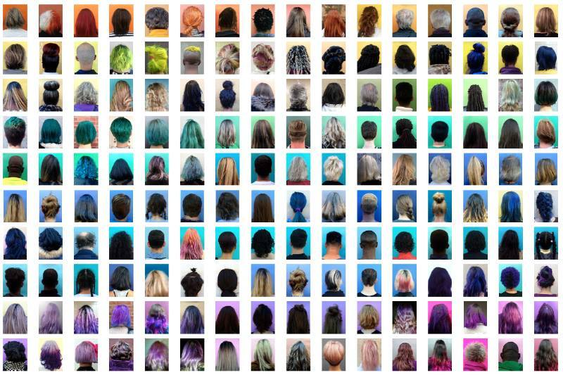 thingsorganizedneatly :      Anouk Kruithof' sinstallation at the NYC project space, FOUR AM , located at291 Grand Street, in the front window.  By photographing the backs of subjects' heads, the artist removes signifiers of gender, age, ethnicity, and facial expression, for a series of unified (and neatly organized) portraits.