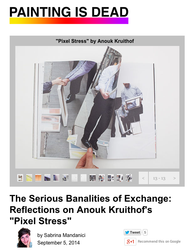 comprehensive & profound review on collecting stickers, my book 'pixel stress 'and a bit about 'he daily exhaustion' by  Sabrina Mandanici on Painting is Dead blog